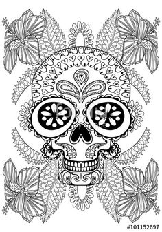Sugar Skull In Flowers Adult Coloring Page