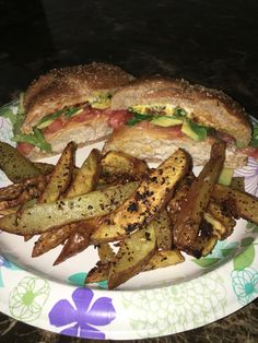 Turkey burger with the works served with garlic fries