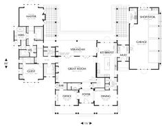 First Floor Plan image of Seligman House Plan.  LOVE the U shaped patio.  Perfect for a pool