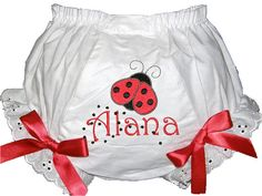 Personalized Ladybug Baby Girl Bloomers, Diaper Cover, Panties Free Shipping on Etsy, $13.75