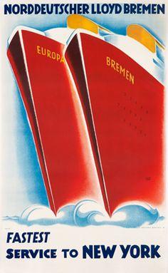 Hugo Feldtmann poster: Norddeutscher Lloyd Bremen Fastest Service to New York