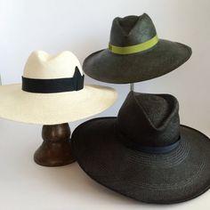 dcbe7610643 Black Panama Straw Hat Large brim Fedora Sun Hat by UnaHats Large Brim Hat