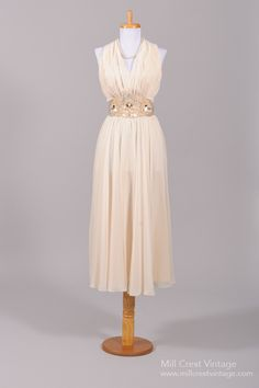 1970 Chiffon Halter Vintage Wedding Dress