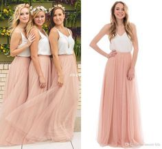 Two Tone Country Wedding Boho Bridesmaid Dresses Blush Tulle V Neck 2016 Cheap Long Party Prom Gowns Plus Size Maid of Honor Dresses Online with $72.82/Piece on Sweet-life's Store | DHgate.com