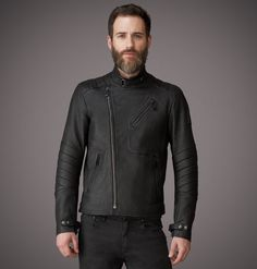 This is a luxurious black nappa leather café racer jacket with seaming detail. Shop the Larkfield Jacket from Belstaff US.
