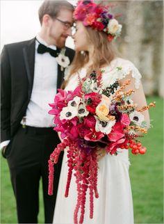 eclectic bouquet by Bo Boutique #weddingflorals #bouquet #weddingchicks http://www.weddingchicks.com/2014/02/24/pantone-perfection-wedding-inspiration/