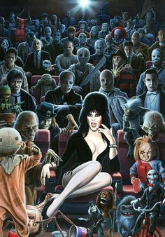 collection of iconic monsters & freaks..Elvira, Chucky, Frankenstein, Dracula, Leatherface, etc.