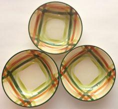Vernonware Tam O'Shanter Set of 3 Rimmed Bowls Soup Salad MCM Plaid Hand Painted #Vernonware