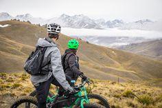 Fat Bike heli-biking in autumn. Fly up, bike down.