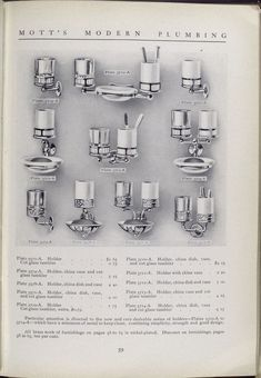 Mott's Iron Works 1911 bath catalog. Plate 3573 - A to Plate 3714 - A. Holder, china dish, vase and cut glass tumbler