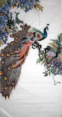 Hand-painted Chinese painting: Peacock - Chinese Painting The Leading Chinese Painting Supplier in China Have Huge Selection of Original Chinese Art Painting. Peacock Wall Art, Peacock Painting, Chinese Painting, Chinese Art, Peacock Images, Artistic Visions, Chinese Drawings, Wildlife Art, Large Art