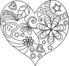 Beyond the Fringe: Free Valentine Digital Stamps Heart Coloring Pages, Colouring Pages, Adult Coloring Pages, Coloring Books, Heart Doodle, Doodle Coloring, Quilling Patterns, Doodle Patterns, Paper Quilling