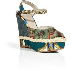 D DOLCE & GABBANA Multi-Print Wedge Sandals by None, via Polyvore
