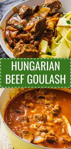 Hungarian beef goulash is a spicy beef stew with onions and paprika. Here's an easy recipe for this classic dish where everything cooks in a single pot. Spicy Recipes, Meat Recipes, Dinner Recipes, Cooking Recipes, Recipes With Beef Stew Meat, Stewing Beef Recipes, Lamb Recipes, Cooking Ideas, Cooking Time