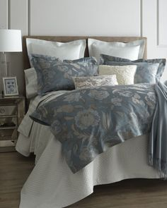 """""""Peacock Jacquard"""" Bed Linens by SFERRA at Horchow."""