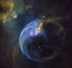 The Bubble Nebula really is a bubble. It is being blown into this shape by the bright star known as SAO20575, which sits just to the left of centre in this image. This is a giant star of 10–20 times the mass of the Sun.