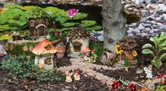 Fairy House 4 Piece Statue Set