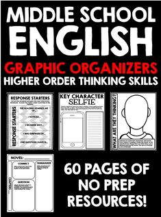 Middle School English Graphic Organizers by Creative Classroom Core Middle School Writing, Middle School English, 8th Grade English, Middle School Literature, Ela Classroom, Middle School Classroom, English Classroom, Classroom Ideas, Vocabulary Graphic Organizer