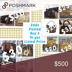 Women's Bags Must buy at least 3 to get the prices listed in pics. Bundle the items you want, using the original ads, and offer the total for sale pricing. Many of the items I'll be losing cost on so please do not offer less or offer less on single items based on this very generous pricing. If you want something not pictured in these two ads it can be discussed.  Tags:  Anne Klein, Calvin Klein, Ralph Lauren, Nine West. Bags