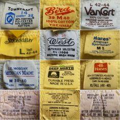 Vintage Logo Design, Tag Design, Label Design, Vintage Tags, Vintage Labels, Vintage Sewing, Vintage Packaging, Vintage Branding, Old Tee Shirts