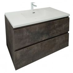 VOGUE Avery Wall Vanity * Stone Ash * Soft Close * Stone Resin Top * W 1000mm x D 500mm