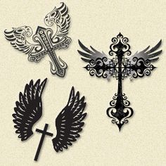 Cross tattoo with wings I like the one on the right
