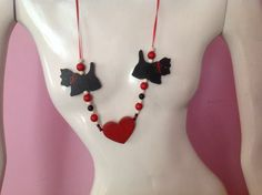 FUNKY Scottish Terrier heart beads necklace on red by chachachic