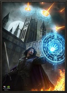 An epic magic-user shields his area from bombardment with a powerful barrier spell. Some spells require the caster's full and undivided concentration in order to function. Thus, came the needed for them to hire (or in some cases create) body-guards that can protect them while they maintain their spells in battle.