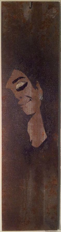 """Tribute to Audrey Hepburn -  Audrey Hepburn photographed by Douglas Kirkland, at the Studio de Bolougne, Paris, during the making of """"How to Steal a Million"""", November 1965  -  15x80cm -  Soggetto realizzato con stencil fatto a mano, colori acrilici spray, strass di resina, cristallo decorativo su metallo e plastica. .  Subject made with handmade stencil with spray acrylic colours, resin strass, deco crystal on metal and plastic. -  Per informazioni e prezzi: manualedelrisveglio@gmail.com"""
