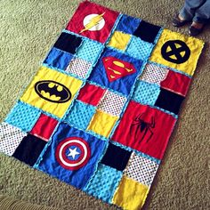 super hero rag quilt...could be changed for a girl with princesses or super girl, bat girl, etc.