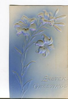 Lilies embossed Easter vintage postcard air by sharonfostervintage, $2.00