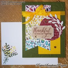 Paper Sunshine Project: Gift of Fall Paper Pumpkin Colorful Banner 2 Card Making Inspiration, Making Ideas, Thankful For Friends, Arts And Crafts, Paper Crafts, Paper Pumpkin, Pretty Cards, Thank You Cards, Your Cards