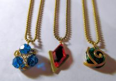 Zelda Necklace Zora's Sapphire, Dark Blue Crystals, Ball Chain. $12.51, via Etsy.