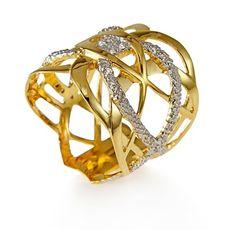 Anel em ouro amarelo 18K, ouro branco 18K e 10 pontos de diamantes - Coleção Entrelace