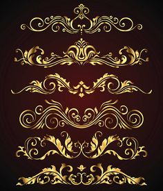 Golden vintage elements and borders set for ornate and decoration. Floral swirl design spa and royal logo elements Gold Stock, Luxury Logo, Decoupage Art, Carving Designs, Swirl Design, Art Deco Design, Free Vector Art, Vintage Flowers, Design Elements
