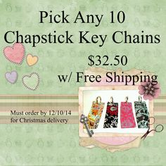 FREE SHIPPING on ANY 10 Chapstick Keeper by KrissysCraftyKitsch