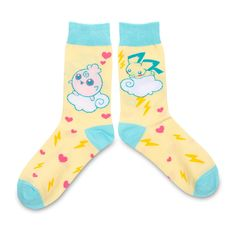 Official Pichu Johto Cuties Crew Socks. Comfortable one size adult socks with Pichu and Igglybuff resting on a cloud. Pokémon Center…