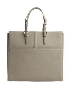 Armani beige leather open top tote