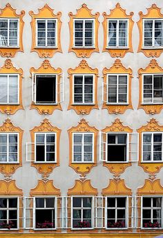 The back of Mozart's birth house in Salzburg, Austria.