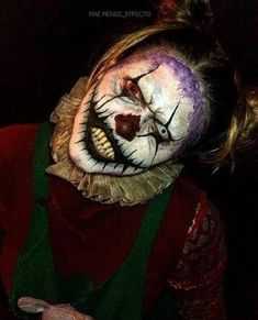 Creepy Clown by Rae Renee Effects - Rosenmontag Creepy Clown Makeup, Freaky Clowns, Creepy Circus, Creepy Carnival, Evil Clowns, Scary Clown Costume, Scary Clown Face, Clown Mask, Halloween Clown
