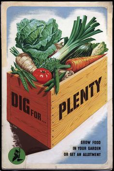 Dig for plenty. Grow food in your garden or get an allotment.  -- WWII poster (UK), 1944.  Artist: Le Bon.