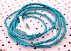 Personalize your ear-buds and earphones with friendship-bracelet string!