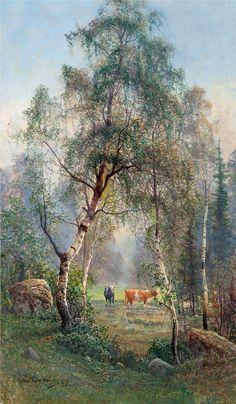Art and Salt — Summer Landscape - John Kindborg Summer Landscape, Landscape Art, Landscape Paintings, Watercolor Paintings, Woodland Art, Fall Pictures, Tree Art, Landscape Photographers, Canvas Art