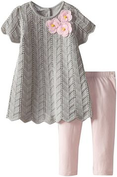 Amazon.com: Pippa & Julie Baby Girls' Sweater Set, Grey, 18: Infant And Toddler Pants Clothing Sets: Clothing Baby Girl Sweaters, Die Kleinen, Baby Girl Fashion, Toddler Fashion, Toddler Pants, Toddler Outfits, Kids Outfits, Baby Girls, My Baby Girl