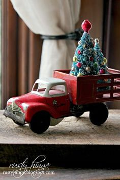 Christmas Decorating Ideas - this post is filled with a lot of ways to decorate around your vintage collections, using greenery, vintage ornaments, etc. - via Rusty Hinge: 2014 Holiday Housewalk Stop ~Decking These New Halls! Christmas Red Truck, Noel Christmas, Primitive Christmas, Country Christmas, Vintage Christmas, Christmas Ornaments, Xmas, Whimsical Christmas, Christmas Vacation