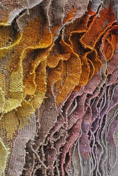 Looks like a gathering of selvage edges.  So interesting!  Margaret Crowther 3D weaving
