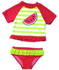 Another great find on #zulily! Cherry Watermelon Rashguard Set - Toddler by Wippette #zulilyfinds