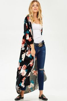 d086581bc Long length velvet floral duster jacket with 3/4 sleeves. This duster is  light