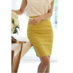 $5.93 Casual Solid Color High-Rise Slimming Cotton Blend Skirt For Women