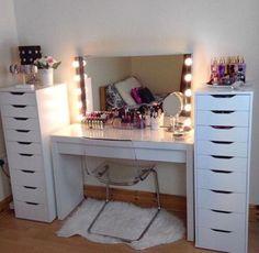 Makeup room decor ideas design of rooms cute ikea best about beauty . Bedroom Desk, Bedroom Dressers, Room Ideas Bedroom, Closet Bedroom, Bedroom Inspo, Makeup Room Decor, Makeup Rooms, Ikea Alex Drawers, Closet Drawers